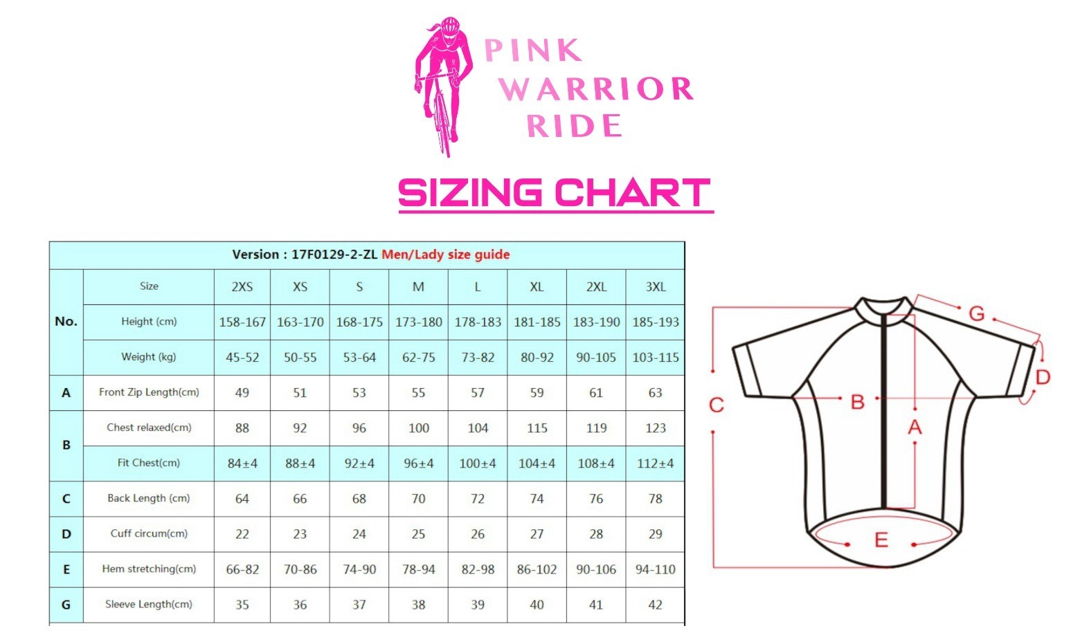 Pink Warrior Jersey Sizing Chart